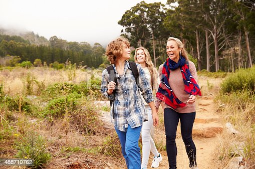 istock Mother and two kids walking on a forest trail 488710762