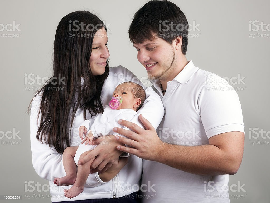 Mother and Vather with  her newborn royalty-free stock photo