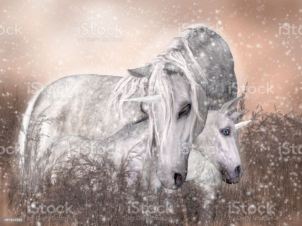 Mother and Young Unicorn Snuggle stock photo