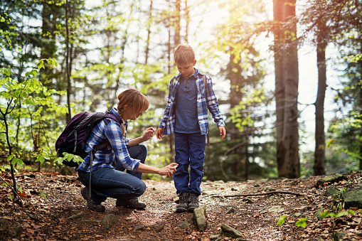 Mother and son hiking in forest. Mother is applying tick repellent on the son's legs. Nikon D850