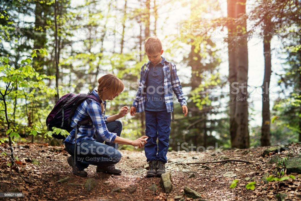 Mother applying tick repellent on son stock photo