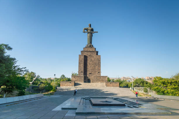 Mother Armenia Statue  in Yerevan, Armenia Yerevan, Armenia - August, 2019: Mother Armenia Statue - Popular Monument for visitors, located in Victory Park, Yerevan city, Armenia. armenian genocide stock pictures, royalty-free photos & images