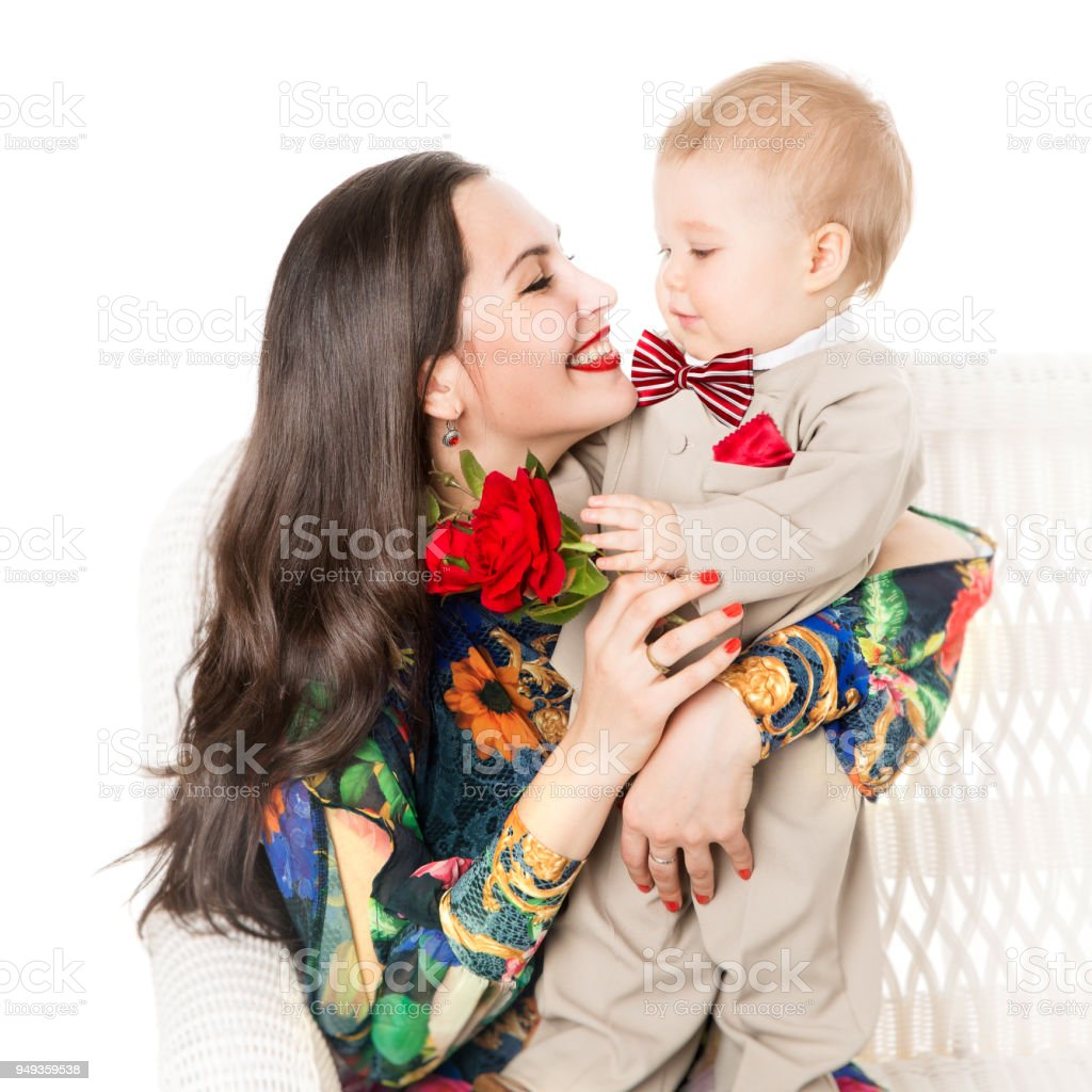 Mother Baby And Flower Mom With Son Boy Well Dressed Family With Kid Stock Photo Download Image Now Istock