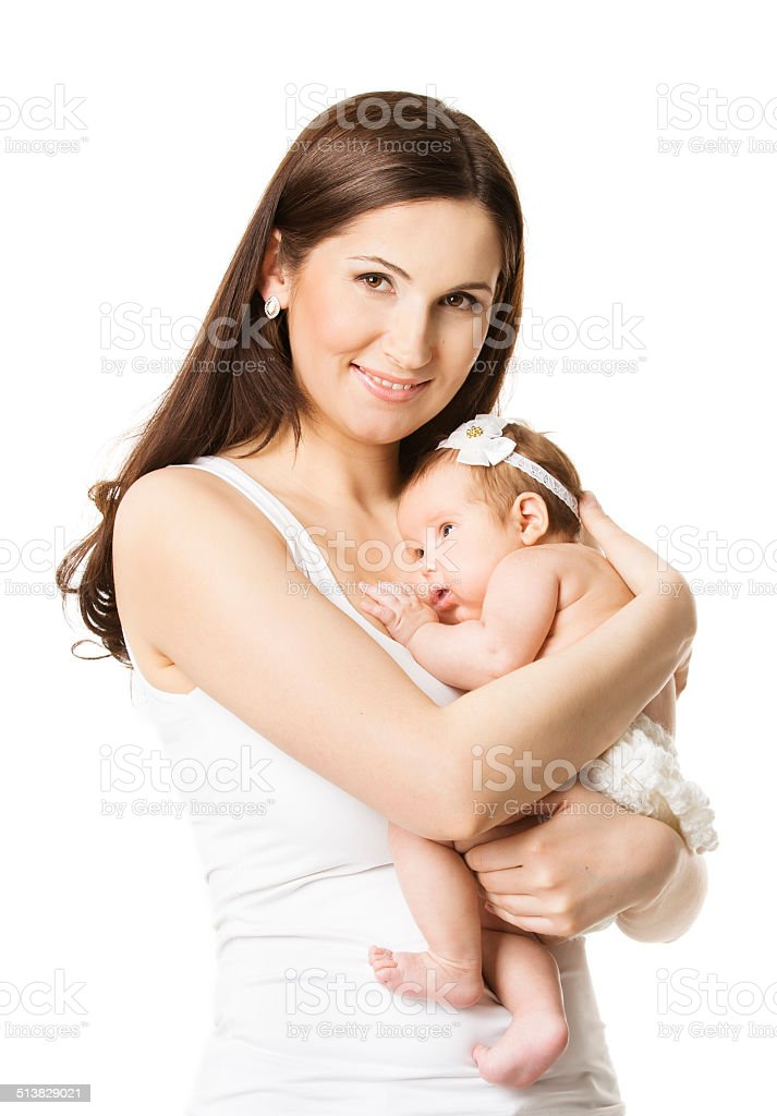 Mother Baby Girl Portrait, Woman holding Newborn Little Kid stock photo
