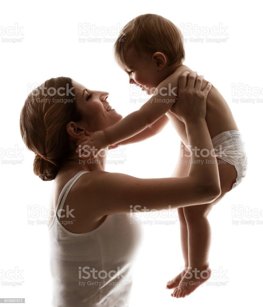 Mutter Baby, Mama und glückliches Kind, Frau mit Kind, Familie – Foto
