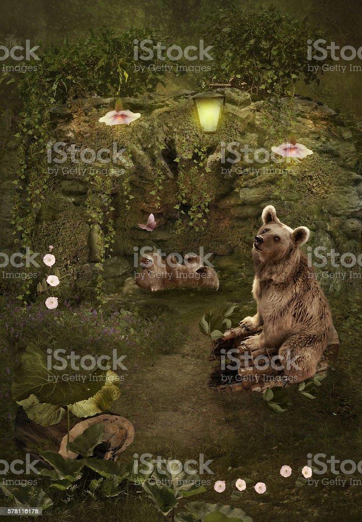 Mother bear and bear cub stock photo