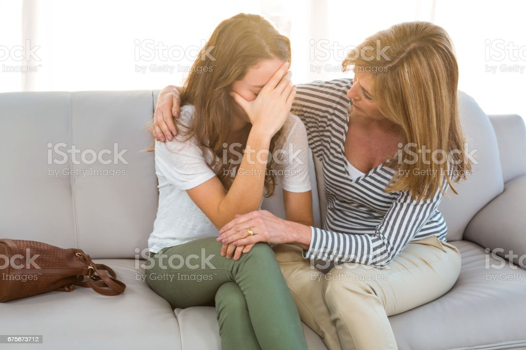 Mother comfort her daughter royalty-free stock photo
