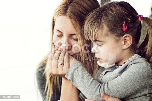 istock Mother comforting injured child 501542590