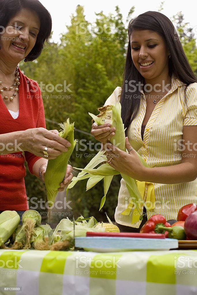 Madre e figlia al barbecue foto stock royalty-free