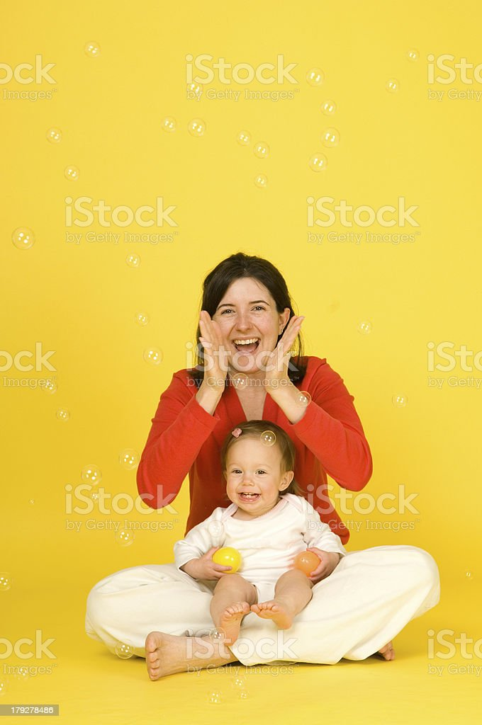 Mother Daughter Bubble Portrait (Uncropped) royalty-free stock photo