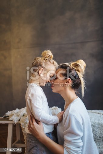 Mother and daughter enjoying together