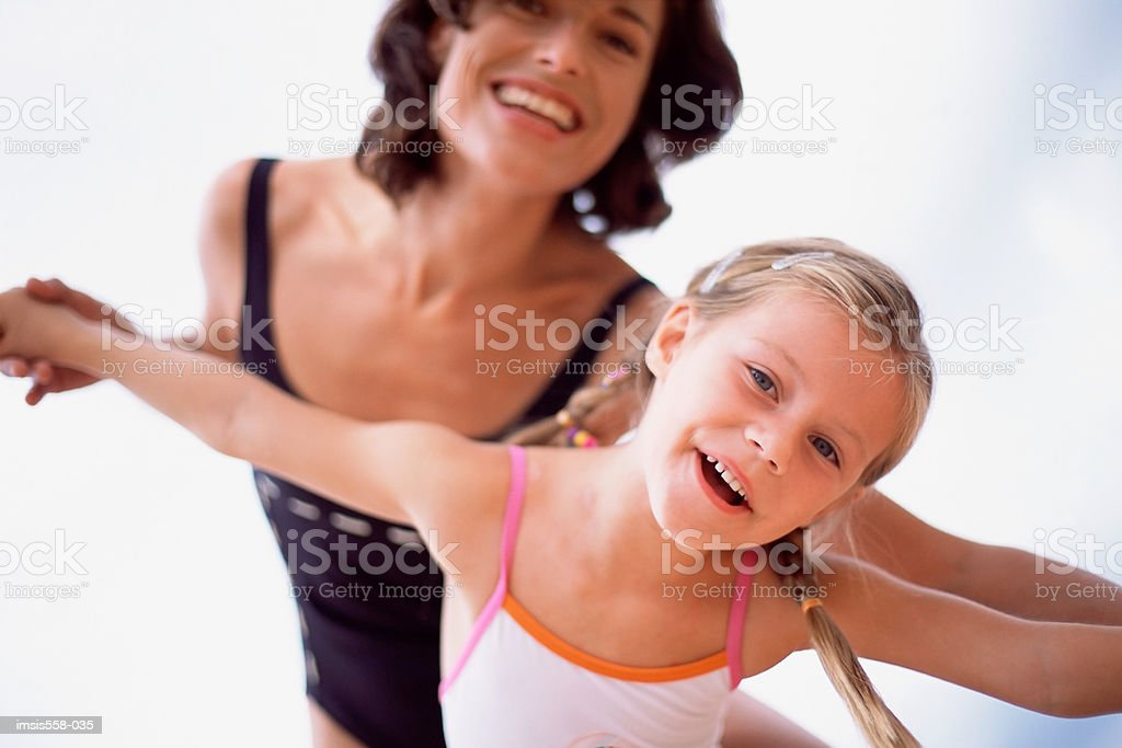 Mother daughter swimwear royalty-free 스톡 사진