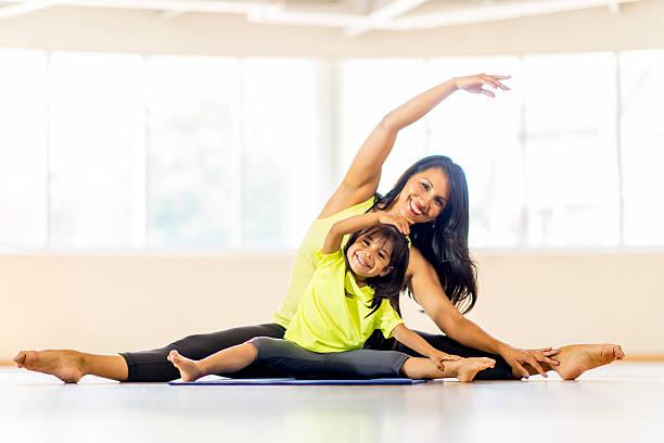 Mother Daughter Yoga Class stock photo