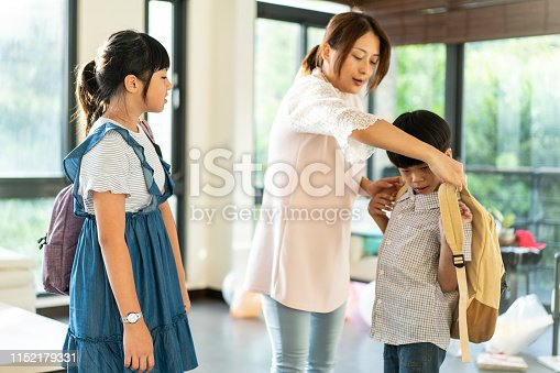 istock Mother dressing up son for school in the morning 1152179331