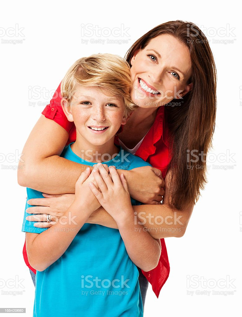 Mother Embracing Her Son From Behind - Isolated stock photo