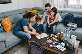 istock Mother explaining to her family the emergency assembly point 1328295373