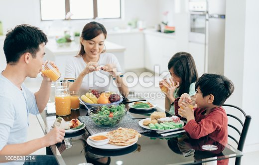 Mother, father and two children eating together