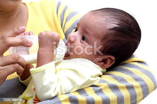 Mother feeding milk to newborn baby