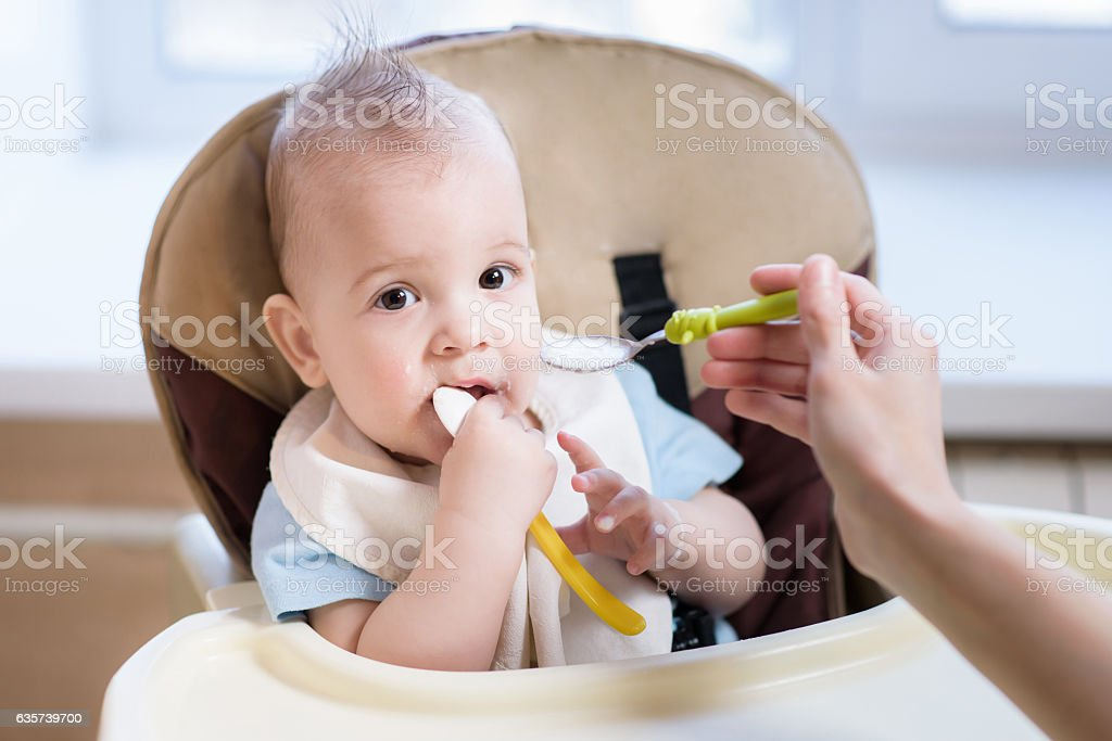 Mother gives baby food from a spoon stock photo