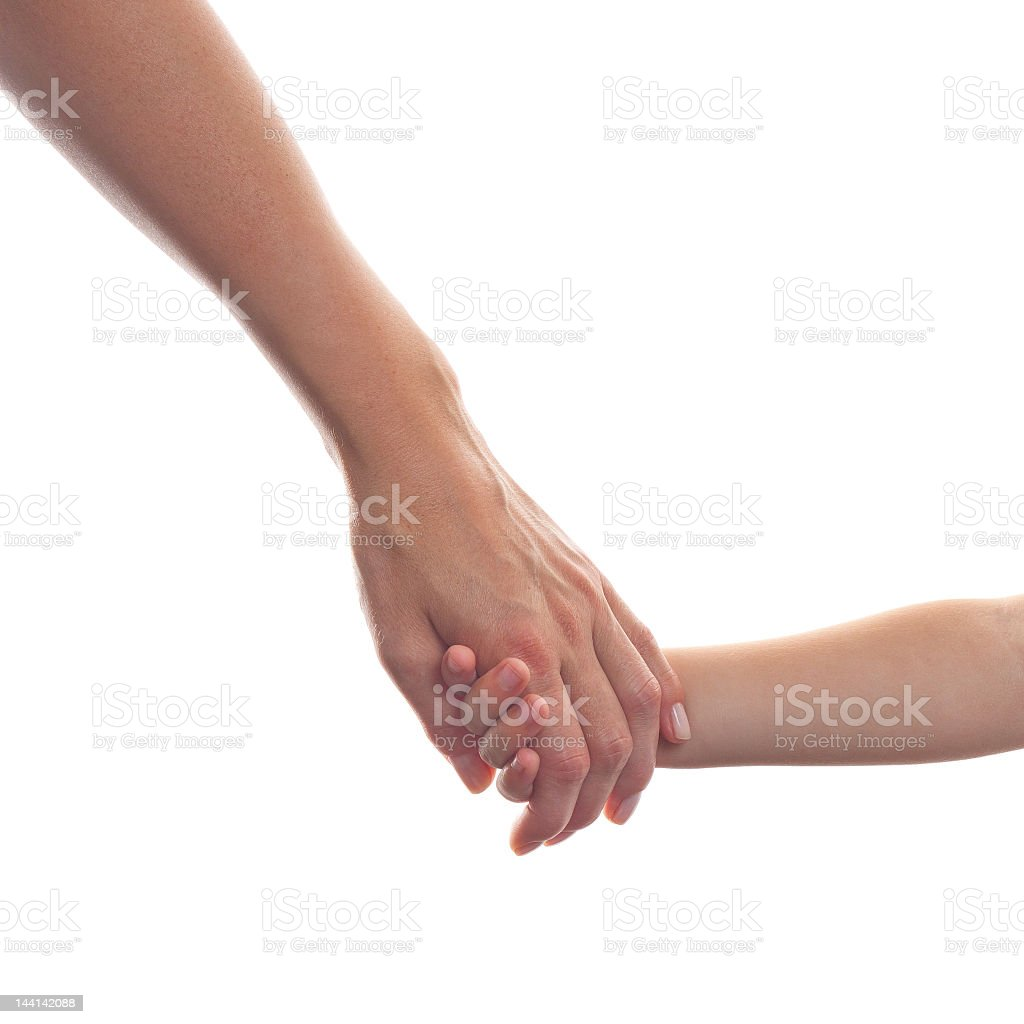 Mother giving a hand to child royalty-free stock photo