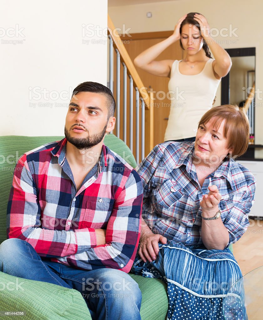 Mother having conflict with children stock photo