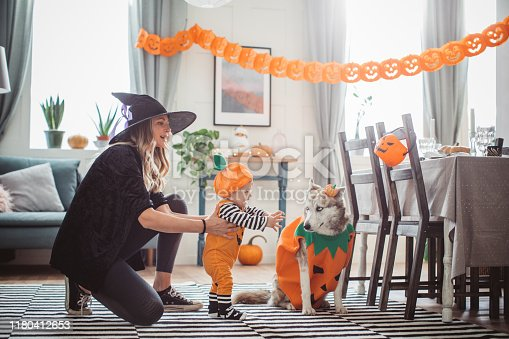 Mother and baby son in costumes at home for Halloween, she helping baby with first steps,pet dog in costume is with them too