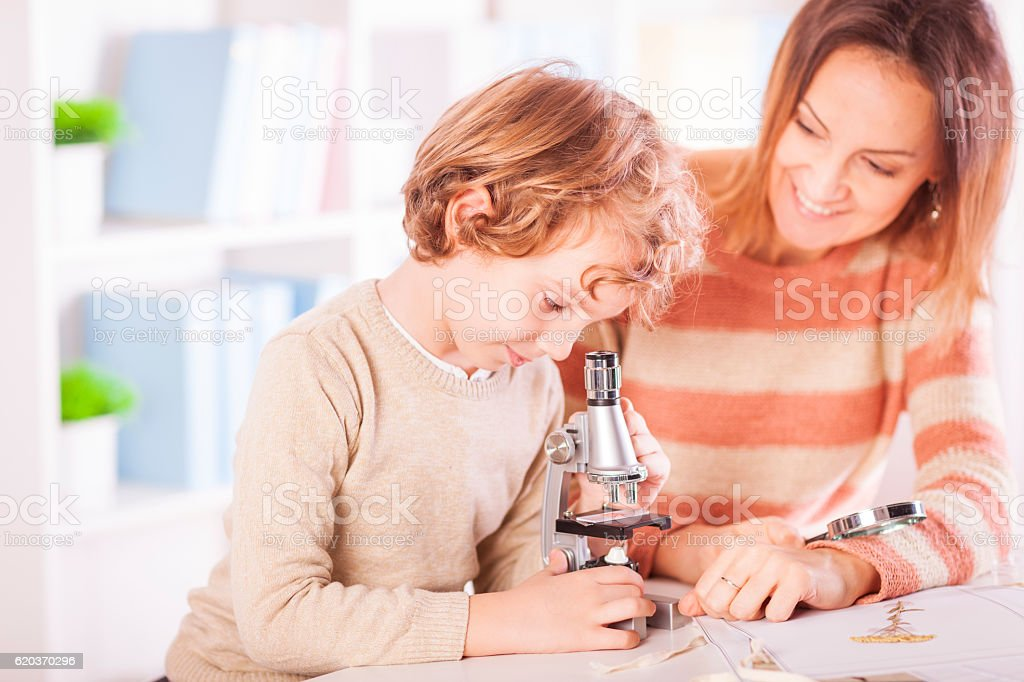 Mother helping her son with his science project zbiór zdjęć royalty-free