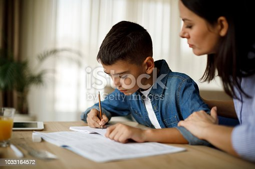 istock Mother helping her son with homework 1033164572