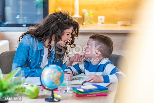 858130938 istock photo A Mother Helping Son for the Homework at home 1133215529