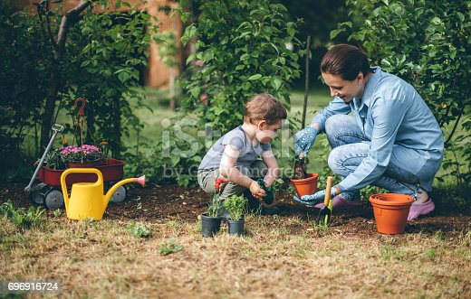 Young woman planting flower with her son…