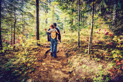 istock Mother Hiking with Baby - Retro, Faded 513604667