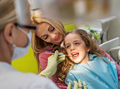 Little girl having her dental examination at dentist office while sitting together with her mother.