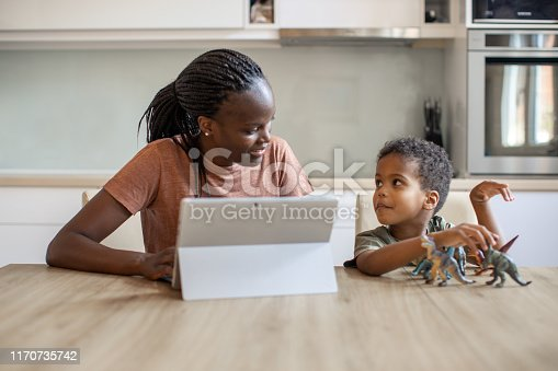 Mother and son sitting by the table in the kitchen and mother shopping groceries online using PC laptop.