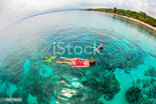 577645320 istock photo Mother, kid in snorkeling mask dive underwater with tropical fishes 1169276334