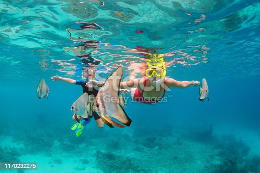 831127716 istock photo Mother, kid in snorkeling mask dive underwater with tropical fishes 1170232275