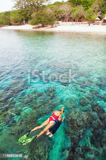 831127716 istock photo Mother, kid in snorkeling mask dive underwater with tropical fishes 1186893648