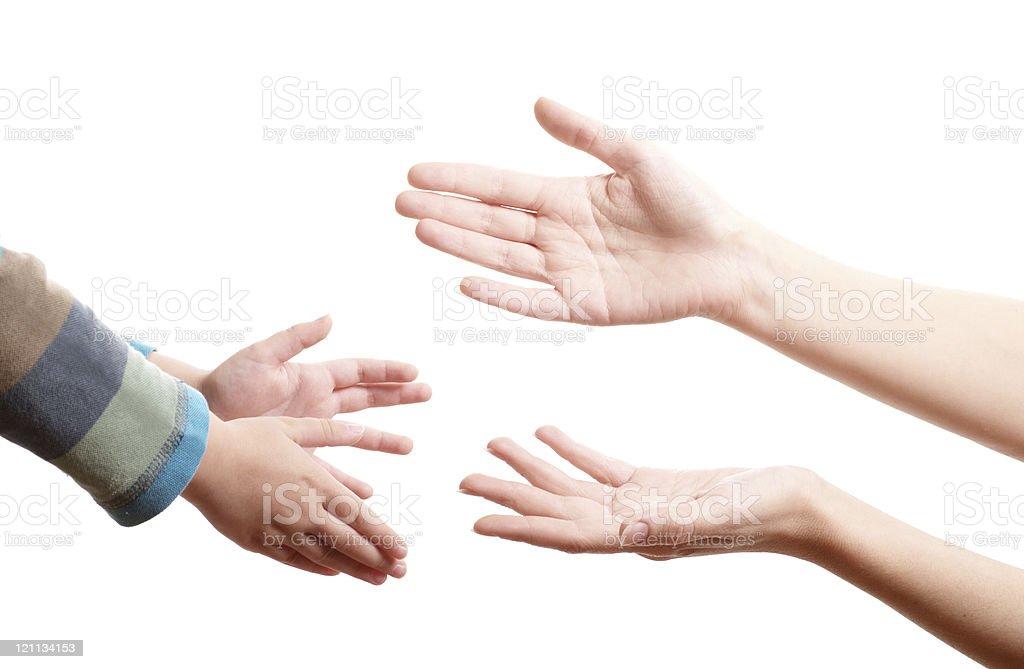 Mutter lend a hand zu Ihrem Sohn – Foto