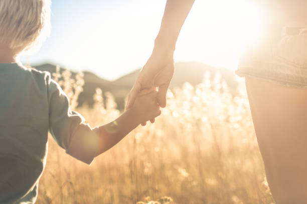 Mother little child holding hands walking in a grass field at sunset. stock photo