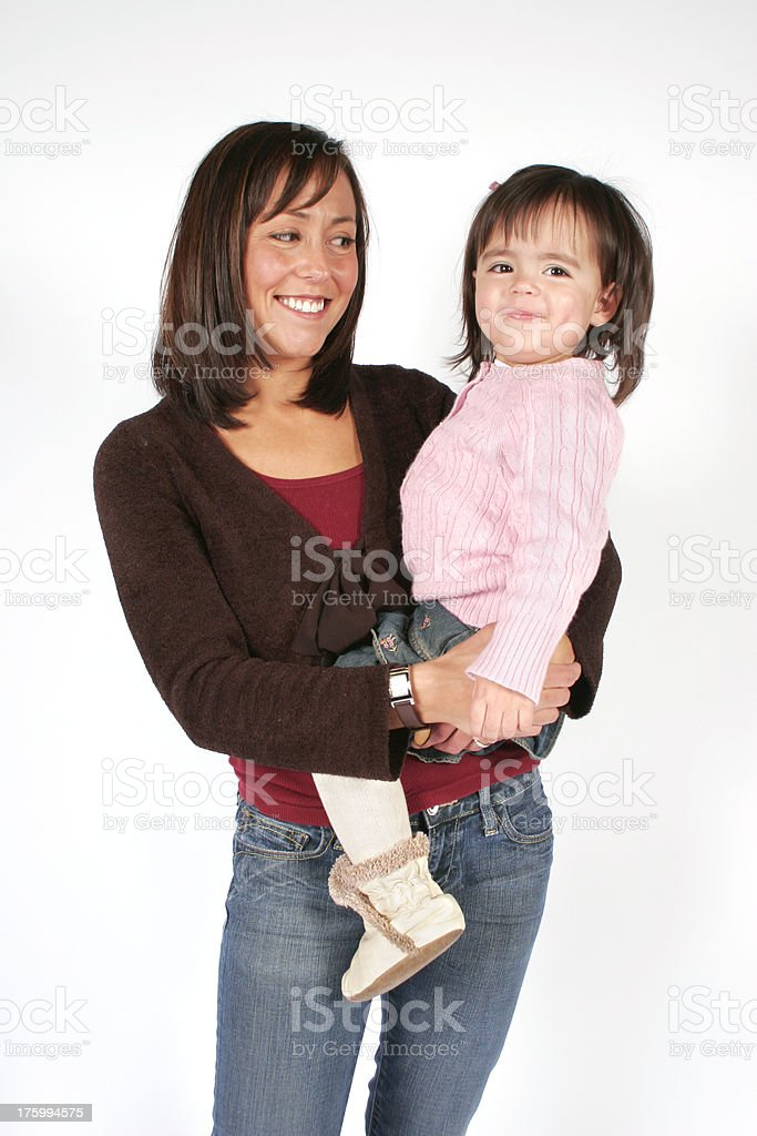 Mother Looks at her Cute Daughter royalty-free stock photo