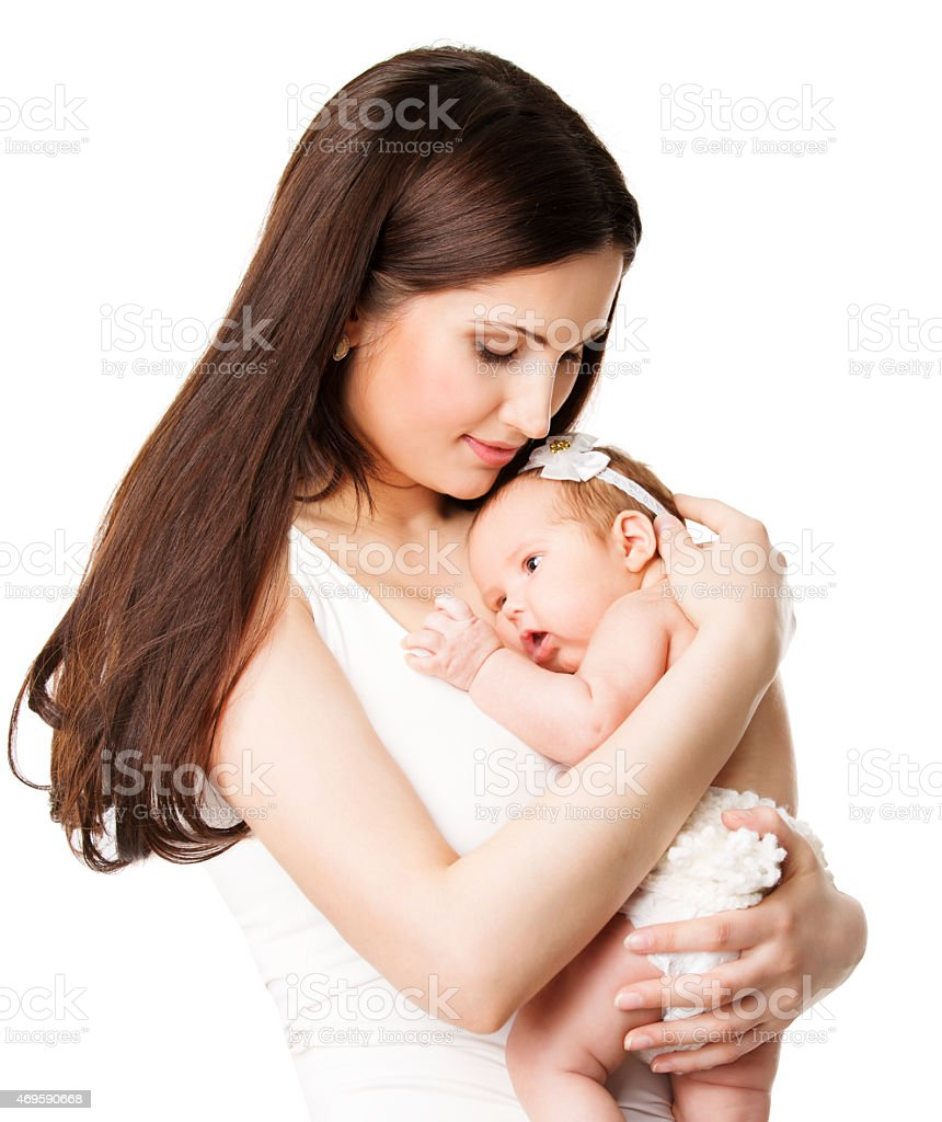 Mother Newborn Baby Family Portrait, Mom Embracing New Born Kid stock photo