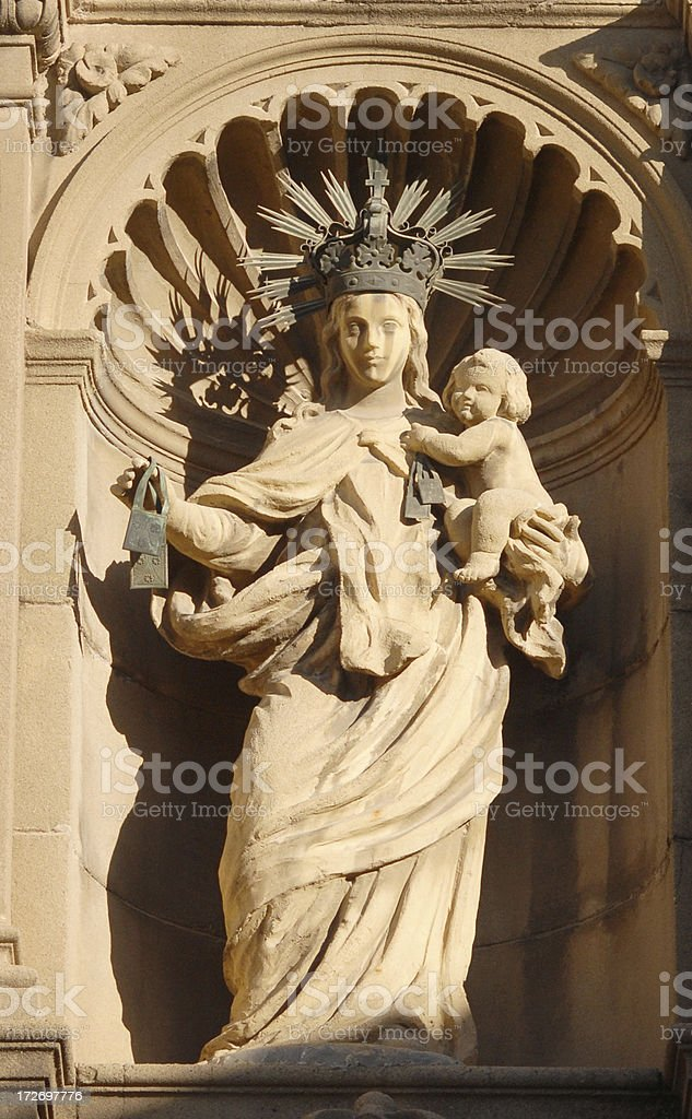 Mother of God statue with a Little Jesus royalty-free stock photo