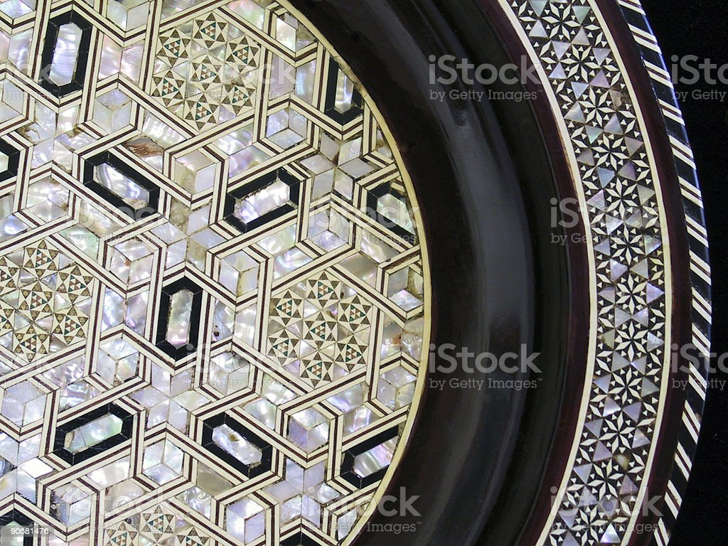 Mother of Pearl Inlay Plate stock photo