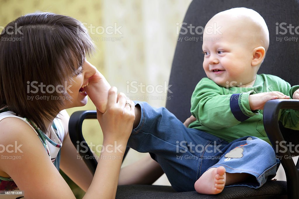Mother play with son stock photo
