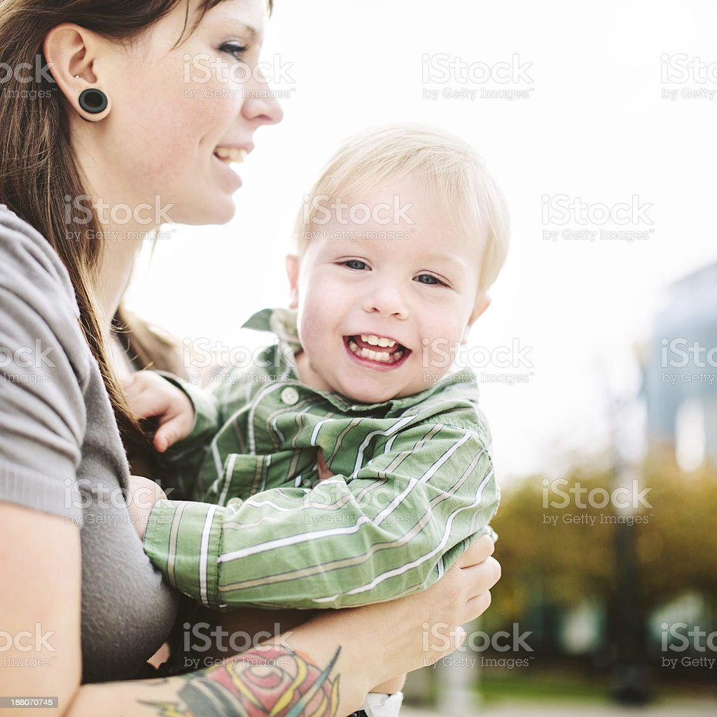 Mother Playing with Her Son royalty-free stock photo