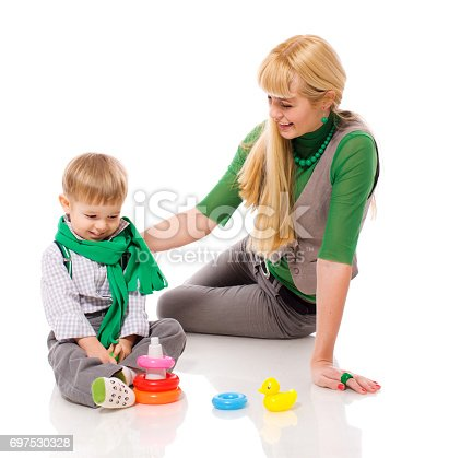 istock Mother playing with son 697530328