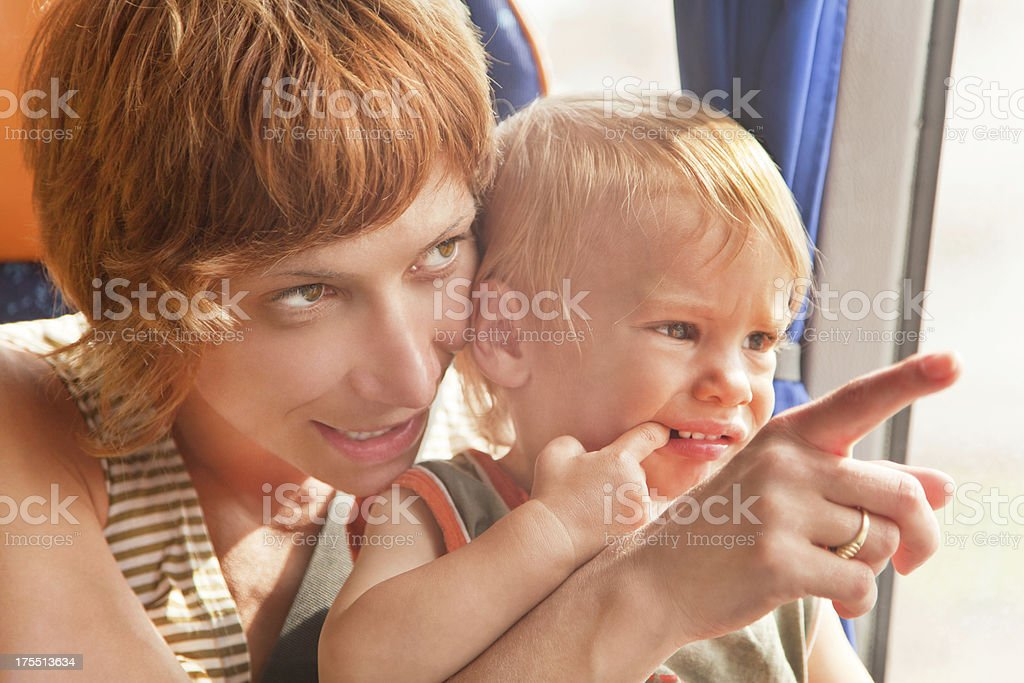 Mother pointing royalty-free stock photo