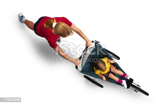 istock Mother Pushing Child in Jogger 172643206