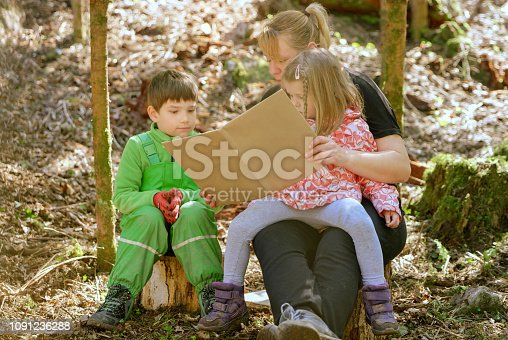 Mother reading book for her children in forest.