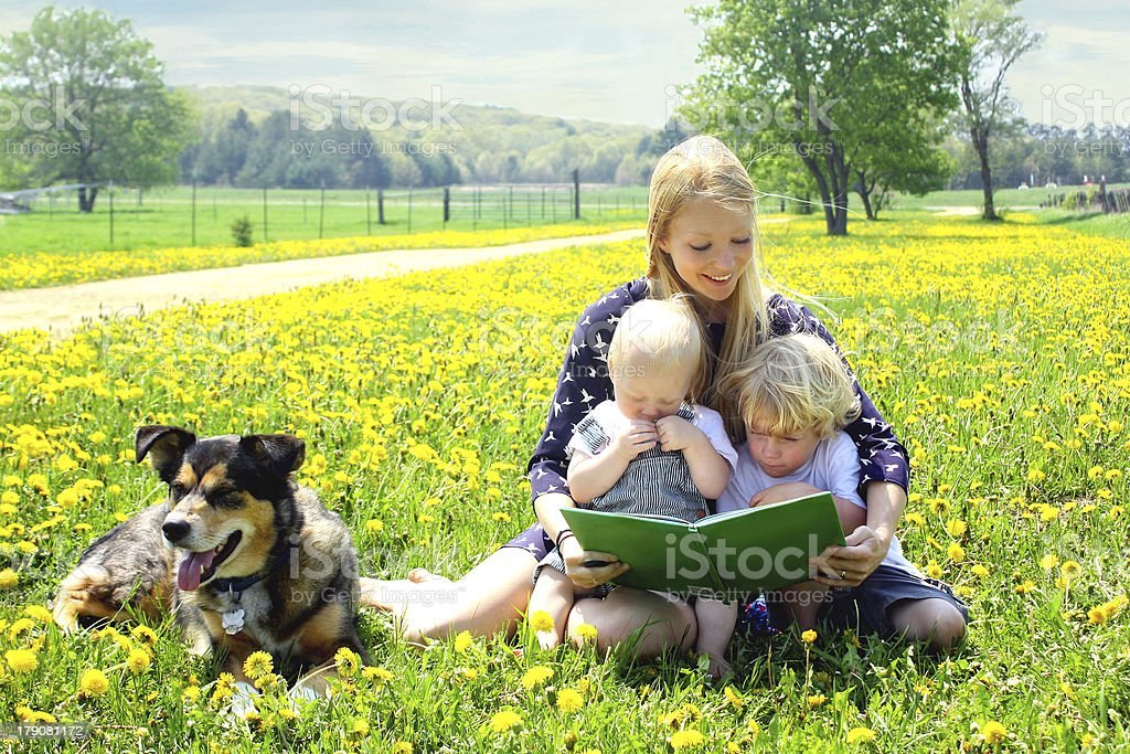 Mother Reading Book to Children Outside stock photo