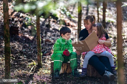 istock Mother reading book with her children 1061236662